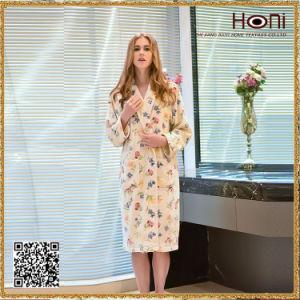 D-010 Hot Selling Women Flower Pattern Bathrobe