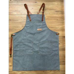 Durable Grey Canvas Full Length Bike Mechanic Aprons with Pockets pictures & photos