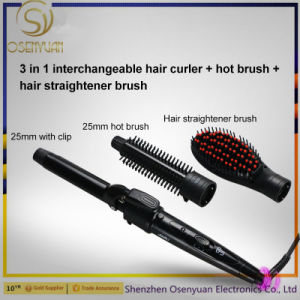 3 in 1 Interchangeable Heated Hair Brush Straightener Brush Make Straightening and Curling Hair Ceramic Hair Beauty Tool pictures & photos