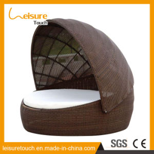 Special Design Garden Outdoor Rattan Furniture Patio Lounge Chair Beach Sunbed with Cannopy Daybed with Cushions pictures & photos