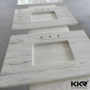 Textured Marble Acrylic Solid Surface Bathroom Vanity Top (170814) pictures & photos