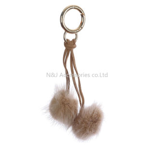 Wholesale Faux Fur POM POM Bag Accessory Brown Double Balls Keychain Jewelry Gift pictures & photos