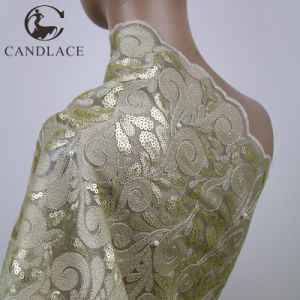 Beige and Gold Sequence Embroidered Tulle Lace Material for Wedding pictures & photos