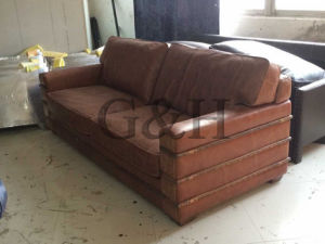 Three Seat Leather Sofa for House Used pictures & photos