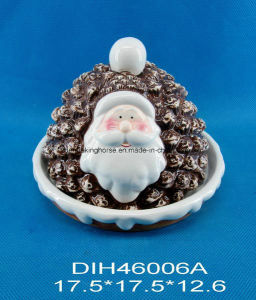 Hand-Painted Ceramic Santa Bread Box pictures & photos