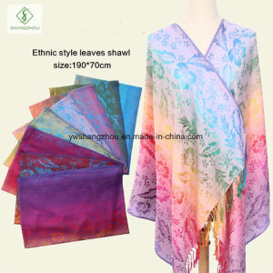 New Design Nepal Style Leaf Pashmina Shawl Fashion Lady Scarf pictures & photos