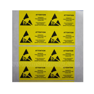 Yellow Safety Warning Printing Self Adhesive Tear Resistant Glossy Stickers pictures & photos
