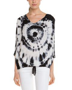 Ladies′ 95%Viscose 5%Spandex Tie-Dye Print Dolman Sleeves T-Shirt
