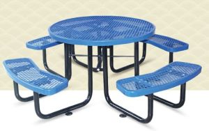 "46"" Round Steel Outdoor Picnic Table Top & Bench Top"