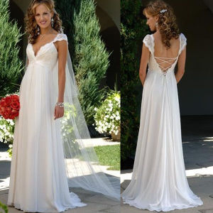 V-Neck Lace Chiffon Bridal Wedding Formal Gown Empire Wedding Dress H051 pictures & photos