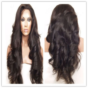 Fashion Pretty Peruvian Human Hair Wavy Full Lace Wigs pictures & photos