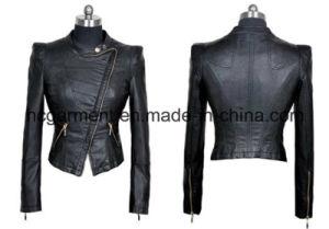 Fashion Punk PU Belt Jacket for Lady/Women, Outwear Coat pictures & photos