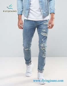 Fashion Light Blue Denim Skinny Men Jeans pictures & photos