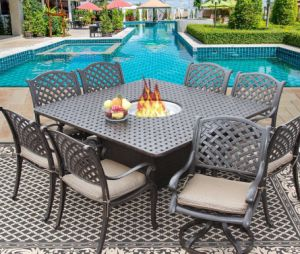 Outdoor Patio Fire Pit 9PCS Nassan Dining Fire Pit Set pictures & photos