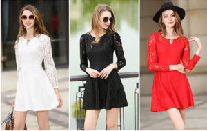 Factory Best Sale Slim Fashion A-Line Plain Lace Long Sleeves Sexy Short Lady′s Dress pictures & photos