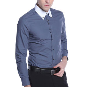 Wholesale Cotton Grey Mens Dress Shirts China Manufacturer pictures & photos