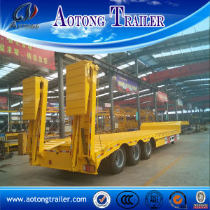 3 Axle 50 Tons Lowbed Semi Trailer with Hydraulic Ramp pictures & photos