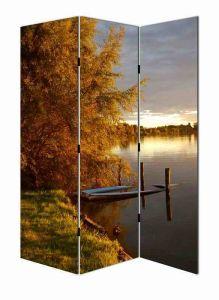 Silent Lake Landscape Canvas Room Divider
