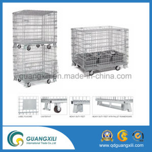 Warehouse Storage Metal Folding Stacking Wire Mesh Cages with Wheels pictures & photos