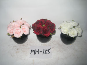 Fake Silk Rose Artifical Flowers with Black Ceramics Pot Mh-155
