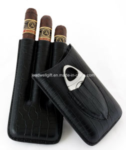 Black Genuine Leather Cigar Case with Cutter pictures & photos