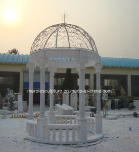 White Carrara Stone Sculpture Marble Gazebo (SY-005) pictures & photos