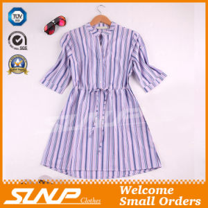 Fashion Women Vertical Stripe Apparel with Half Sleeve pictures & photos