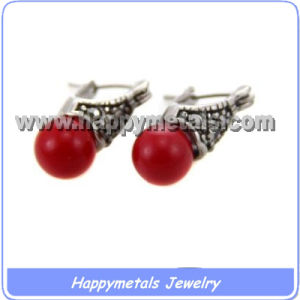 Stainless Steel Red Ball Earrings (E3255)