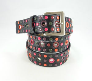 Fashion Lady Waist Belt with Colorful Rivet (EUBL0422-40)