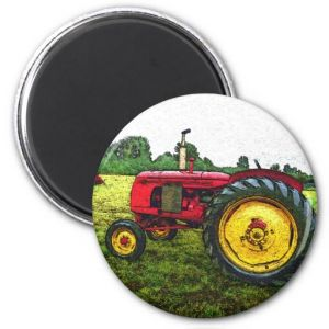 Red and Yellow Farm Tractor Fridge Magnets pictures & photos