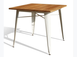 Modern Industrial Tolix Marais Dining Restaurant Knock Down Wooden Table pictures & photos