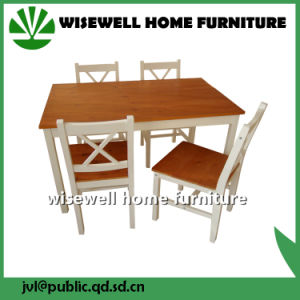 5-Piece Pine Wood Bi Color Dining Set Furniture (W-DF-0627) pictures & photos