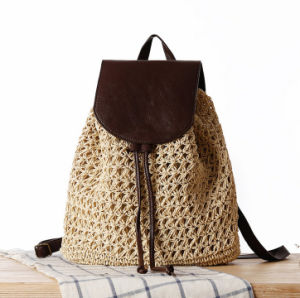 Delicate Colorful Paper Straw Material Beach Backpack for Girls pictures & photos