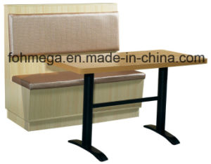 Upholstered Restaurant Booth Sofa with Wood Base (FOH-CBCK70) pictures & photos