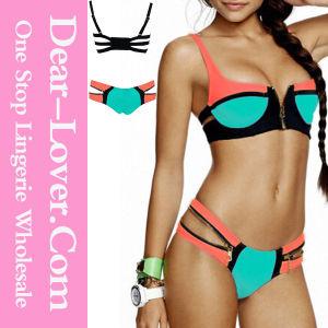 Zip Decor Color Block Green Bikini Set pictures & photos