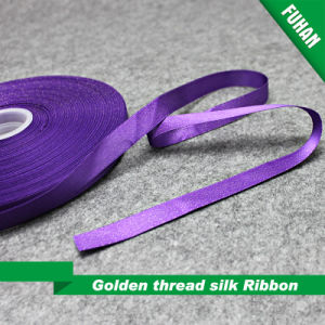 "Nice 5/8 "" Width Gift Golden Thread Silk Ribbon pictures & photos"