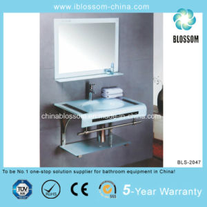 Combine Bathroom Vanity Lacquer Glass Washing Basin with Mirror (BLS-2047) pictures & photos