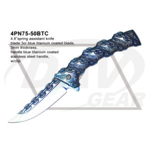 "4.8"" Closed Blue Spring Assistant Fantasy Knife with Titanium Coated pictures & photos"