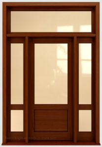 Stained Wooden Front Door with Two Side Lites pictures & photos