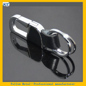 Promotional Business Man Black Leather Strap Zinc Alloy Silver Metal Hook Leather Carabiner Keychain pictures & photos