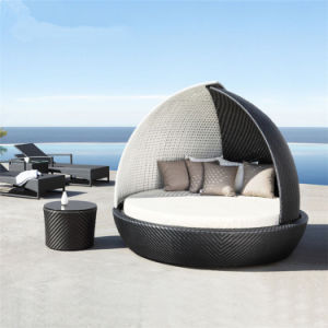 Fashionable Sunshine Lounge Beach   Circular Garden Furniture Rattan Sunbed   T691 pictures & photos