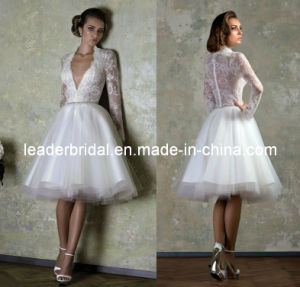 Sheer Lace Wedding Dress A-Line Deep V-Neckline Full Long Sleeves Lace Tulle Short Beach Wedding Dresses H147237 pictures & photos