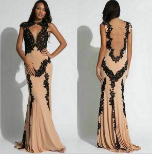 Black Lace Chiffon Evening Dresses Mermaid Elegant Prom Gown E2015