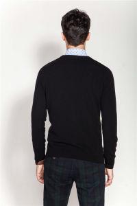 Rib Knit Round Neck Men Intarsia 100%Cashmere Sweater pictures & photos