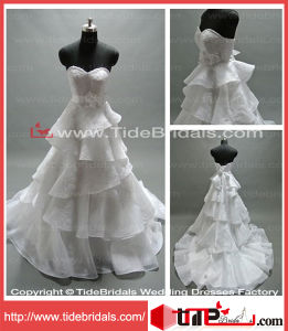 Elegant A-Line Hand Made Flowers Lace Organza Bridal Gown Wear Wedding Dress (AS1335)