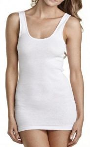 Womens Superscoop Ribbed White Black Stretch Singlet (A495) pictures & photos