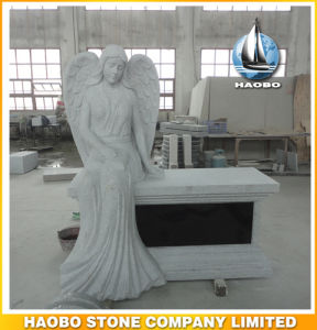 Granite Memorial with Hand Carved Angel and Bench pictures & photos
