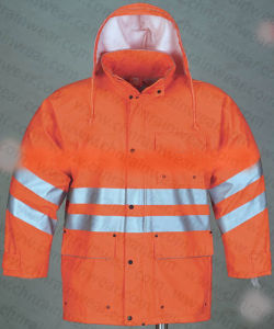 Orange Color Durable Waterproof PU Rain Jacket with Reflective Strip pictures & photos