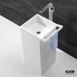Artificial Stone Material Bathroom Pedestal Wash Basin (170606) pictures & photos