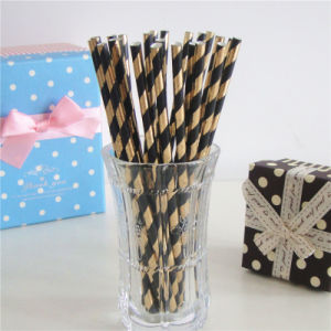 2016 New Pattern Foil Golden Black Striped Paper Drinking Straws Flexible pictures & photos